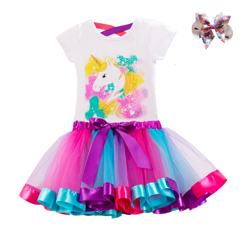 Unicorn Children's Clothing Sets Baby Girl Clothes Summer Princess Party Tutu Unicorn Costume Dress Kids Birthday Outfits Suits 2