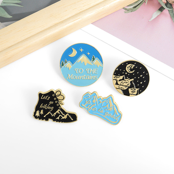 life is good ,Lets go hiking Fantasy starry sky TO THE Mountains Travel Enamel Pin Brooch Badges Jewelry Gifts for Traveler image