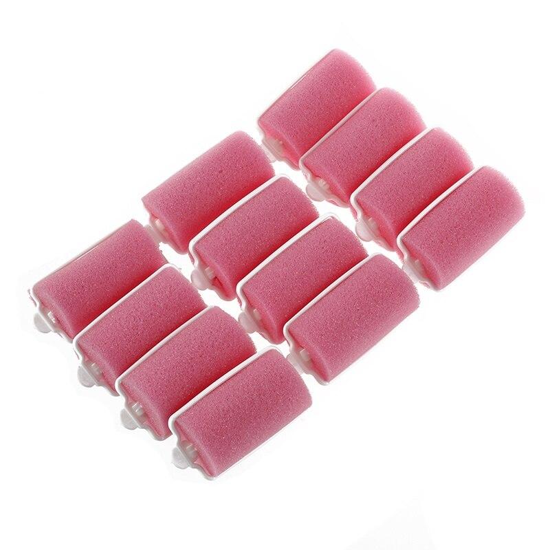 12pcs Magic Sponge Foam Cushion Hair Styling Rollers Curlers Twist Tool Salon Pink