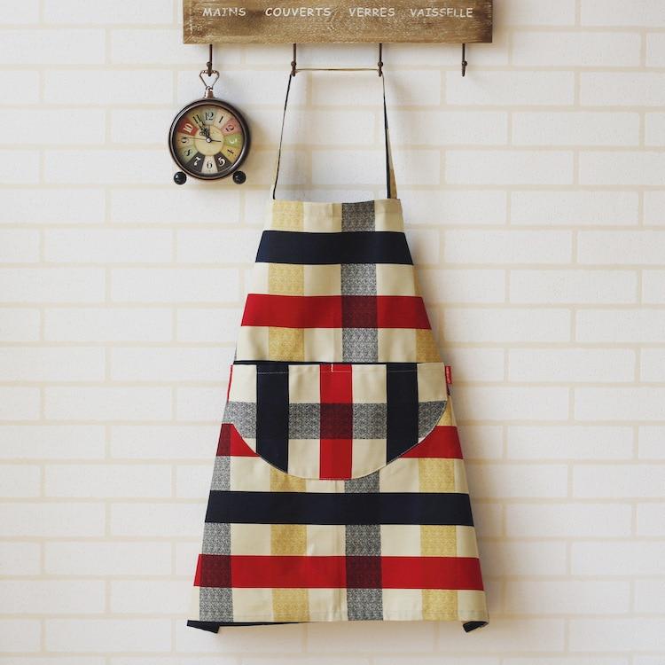 British-Style Fabric Home Apron Zakka Plaid Sleeveless Work Clothes Apron Kitchen Blouse Cafe Clothing
