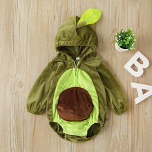 Xmas Avocado Baby Romper Boy Girls Long Sleeve Warm Fur Hooded Romper Jumpsuit W