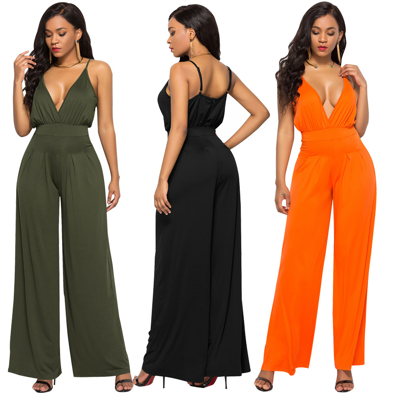 Women Jumpsuit Sexy Deep V Neck Spaghteei Strap High Waist Casual Summer Fashion Wide Leg Pants Backless Solid Army Green Black