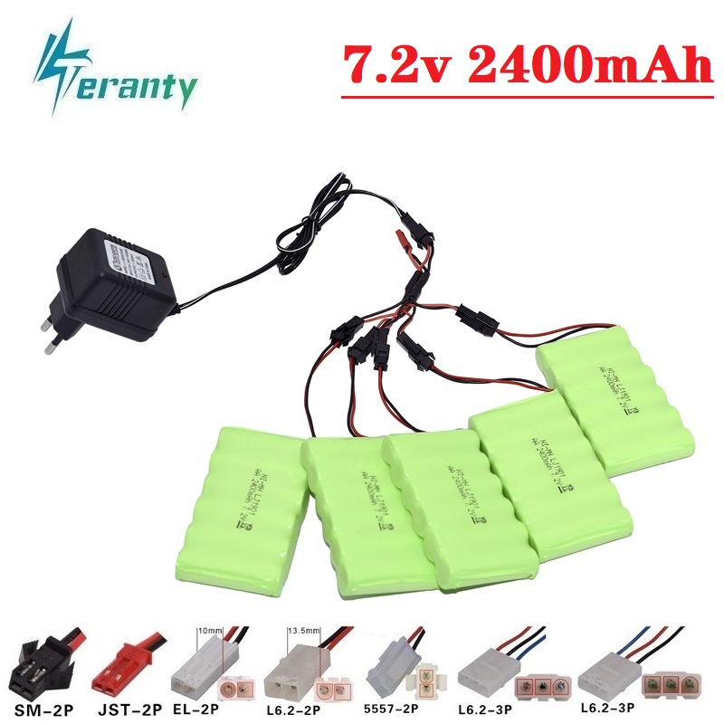 7.2v 2400mAh Battery and Charger For RC Car Robot Tank Truck Gun Boat 7.2v NiMH Battery Aa 700mah 7.2v Rechargeable Battery Pack image