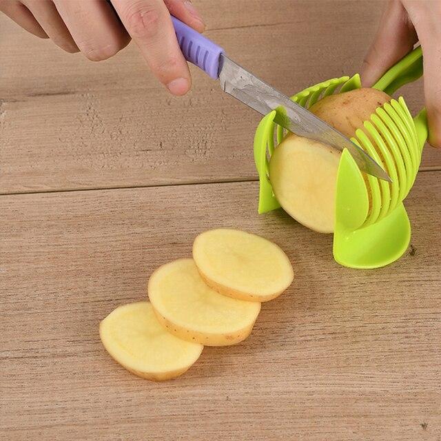 VOGVIGO Handheld Kitchenware Tomato Slicer Bread Clip Fruit and Vegetable Cut Potato Apple Creative Gadget Kitchen Accessories 4