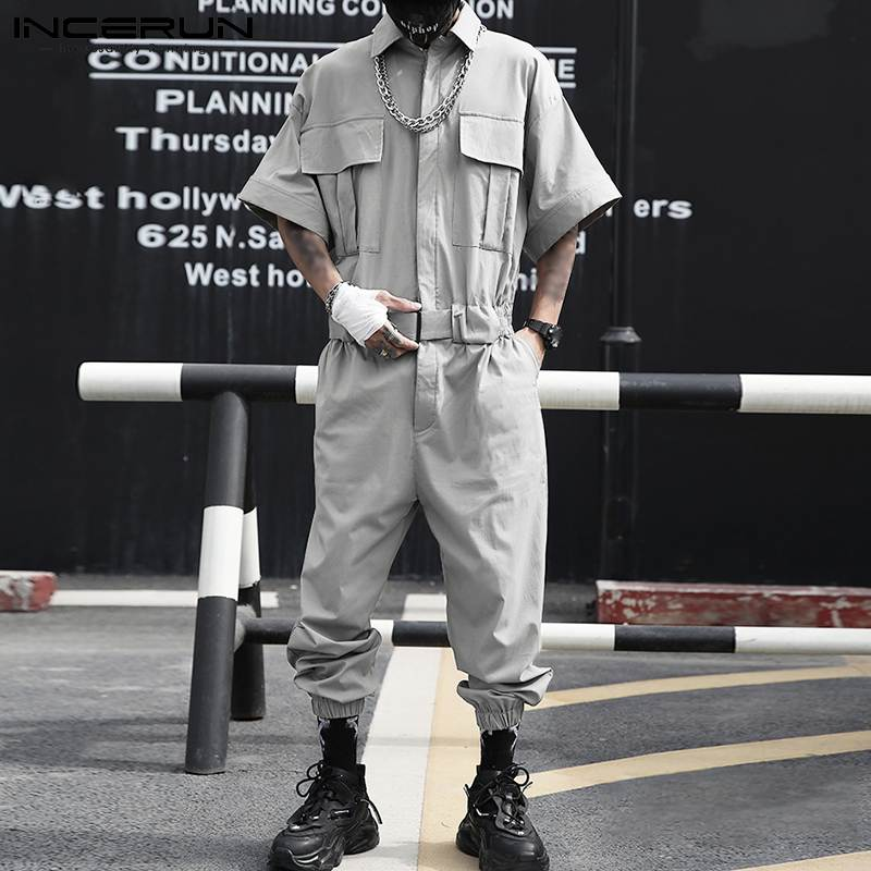 2021 Men Cargo Overalls Streetwear Solid Color Joggers Lapel Fashion Rompers Multi-pockets Loose Casual Men Jumpsuits INCERUN