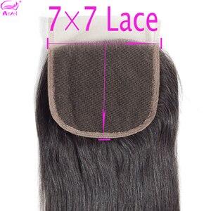 7x7 Lace Closure 100% Human Hair Closure Brazilian Hair Weaving Natural Color Remy Straight Frontal Closure 7x7 Free Part Ariel(China)