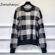 Ziwwshaoyu Fashion Black White Lattice Designer Sweater Pullovers Womens Long Sleeve Autumn Winter Knitting Tops