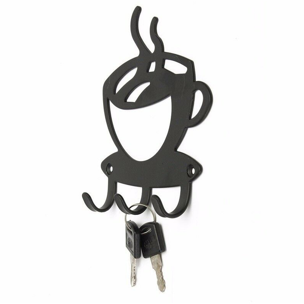 Rack Hanger Coffee Cup Shape Holder Hallway Durable Home Decoration Space Saving Metal Practical Key Hook Wall Mounted Storage