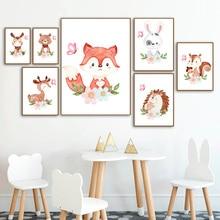 Deer Fox Rabbit Bear Hedgehog Elk Nursery Wall Art Print Canvas Painting Posters And Prints Pictures Baby Kids Room Decor