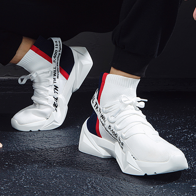 Shoes Men Sneakers Spring Summer High Top Sock Sneakers Male Casual Outdoor Walking Shoes Lightweight Sneakers