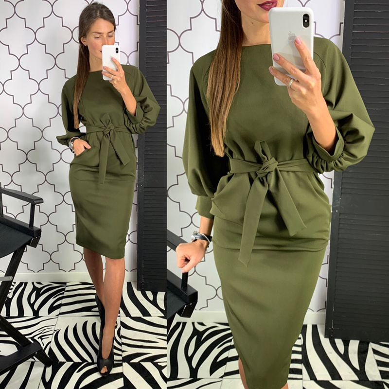 Women Solid Sashes Sheath Dress Vintage O Neck Lantern Sleeve Elegant Party Dress 2020 New Fashion Office Ladies Knee Dresses