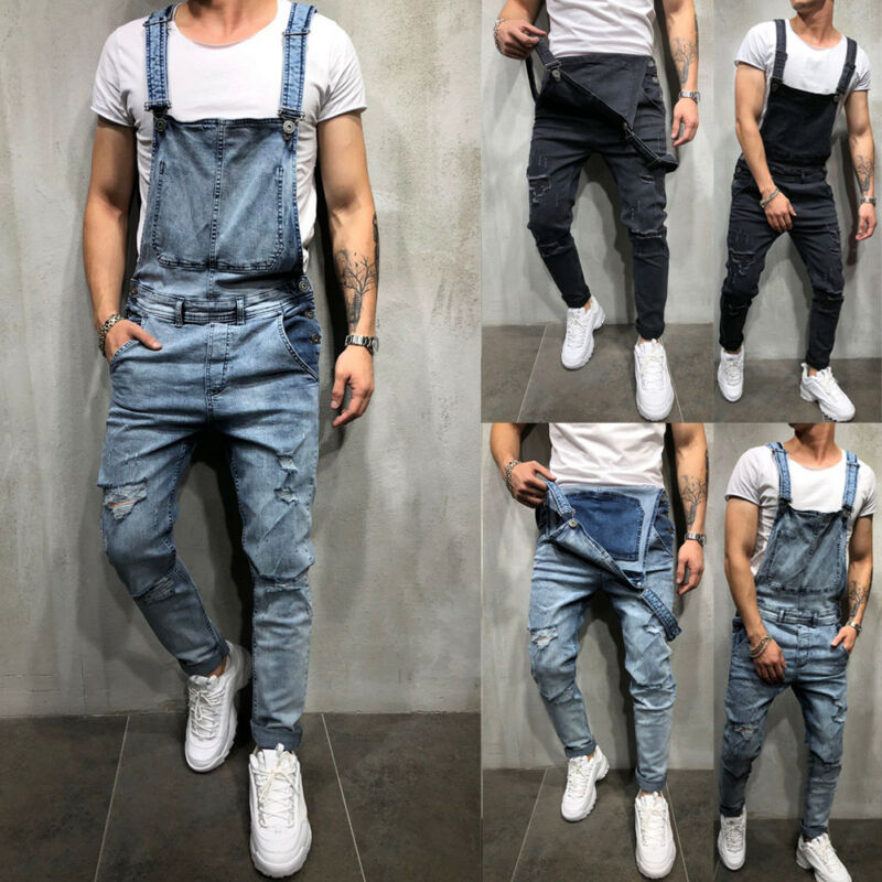 Fashion Men's Distressed Denim Suspender Carpenter Overalls Bib Jumpsuits Men's Casual Pants With Straps