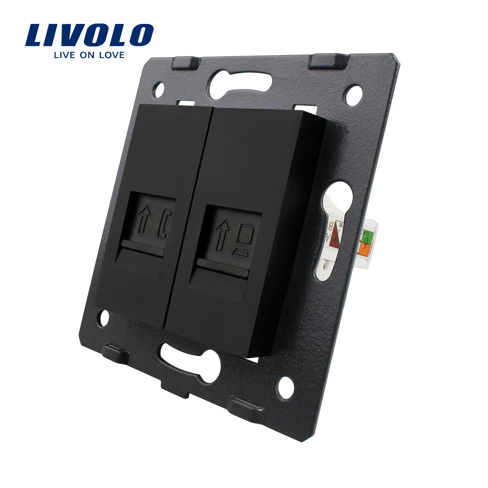 Manufacture Livolo,Wall Socket Accessory, The Base Of Telephone,Computer Socket,TV ,sound,video,microphone Outlet ,black Color