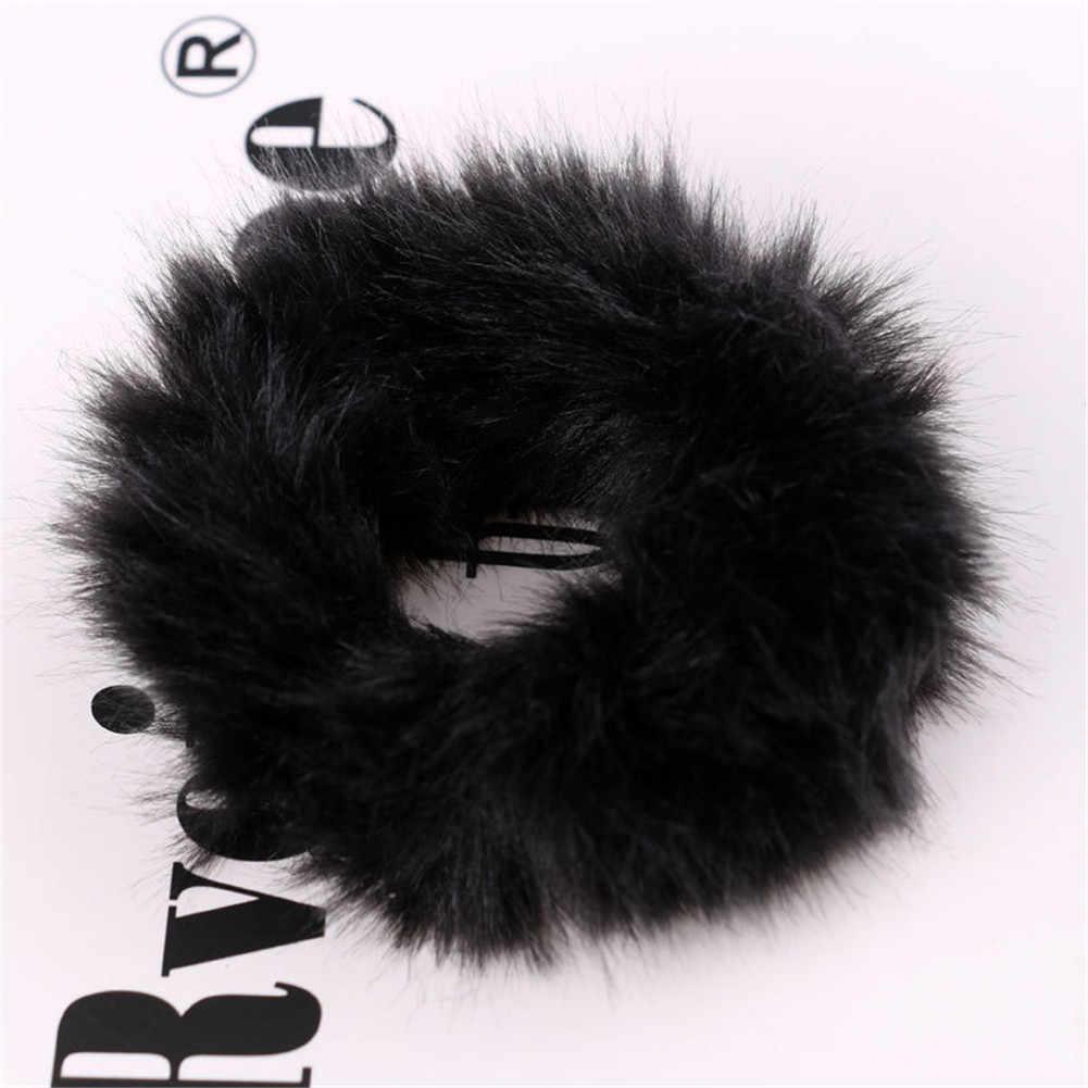 Mode moelleux fausse fourrure fourrure Scrunchie élastique cheveux anneau corde bande cravate ronde filles Scrunchie noir moelleux blanc