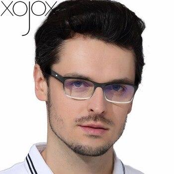 XojoX Men Women Reading Glasses Vintage Rectangle Reading Eyeglasses Fashion Red Anti-blue Light Prescription Hyperopia Glasses