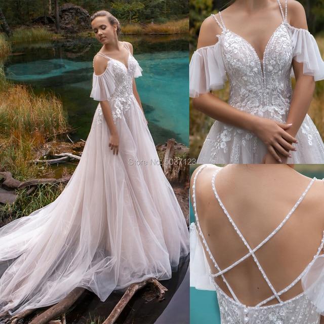 2021 Luxury Off the Shoulder Wedding Dresses V-neck Beading Straps 3D Flowers Appliques Open Back Bridal Gowns Robe de Mariee 1