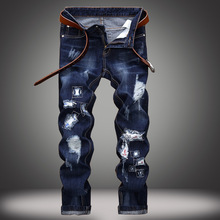 Men's Straight Denim Jeans Trousers Slim Casual Pants Men's Biker Moto Jeans Slim Fit Straight Denim Pants Distressed Trousers personality mens skull printed jeans pants slim fit strentch denim trousers man fashion club wear painted jeans joggers straight