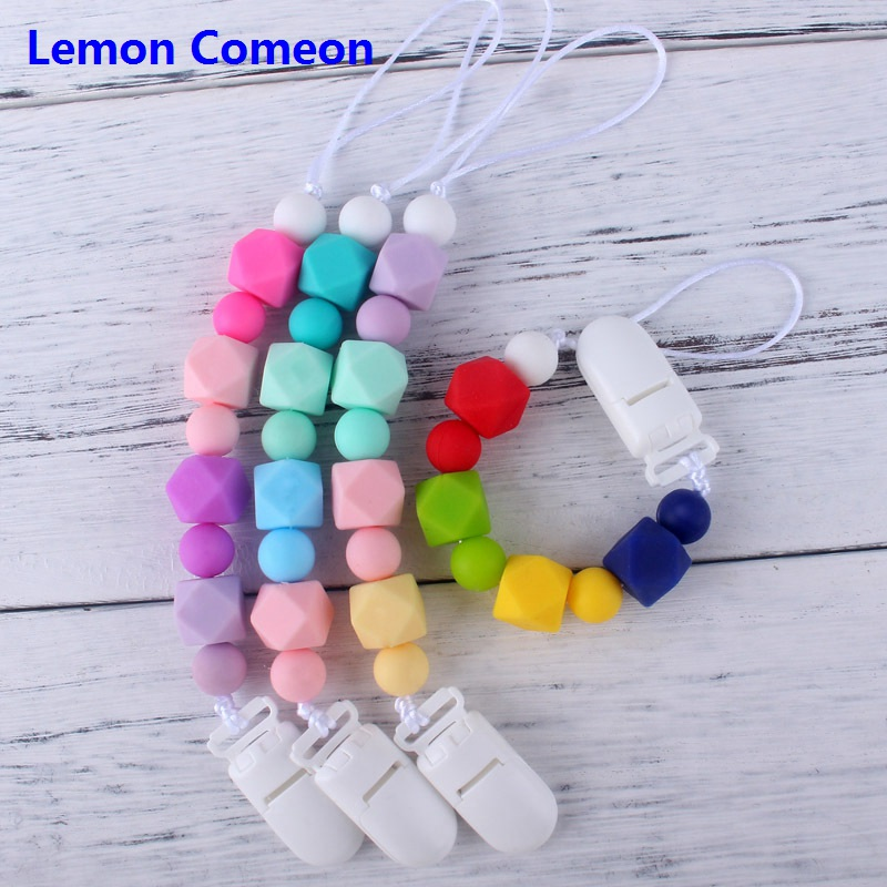Colorful Baby Silicone Pacifier Clip To Soothie Newborn Chew Toddler Boy Girl Toys Holder Chain With Teething Beads Baby Present