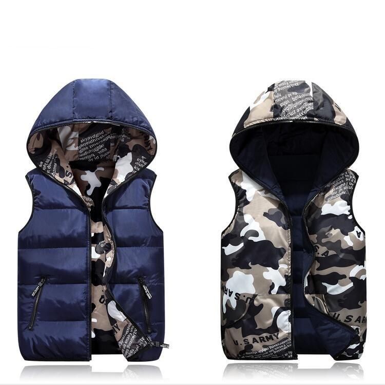 Parent-Child Matching Outfits Camouflage Child Waistcoat Cotton Girls Boys Vest Kids Jacket Children Outerwear For 100-185cm