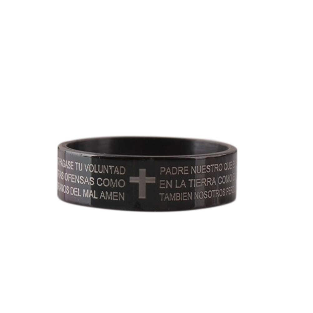 ステンレス鋼の祈り指輪ブラッククロスフェード決してイエス聖書手紙主の祈りクロス男性のリングブルー信念