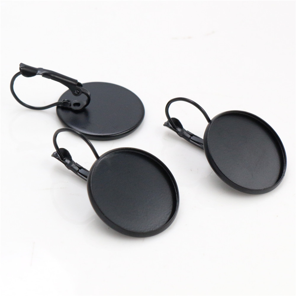 20mm 10pcs Black Plated French Lever Back Earrings Blank/Base,fit 20mm Glass Cabochons,buttons;earring Bezels  (L5-11)