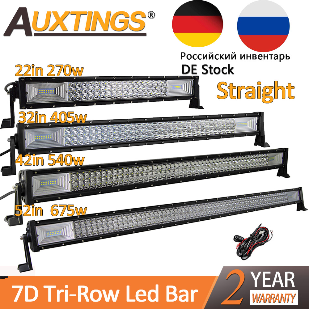 "Auxtings 22"" 32"" 42"" 52""inch Led Light Bar Work Light 7D Led Bar 3-Row 4x4 Truck ATV Car Offroad Driving Straight Light Bar"