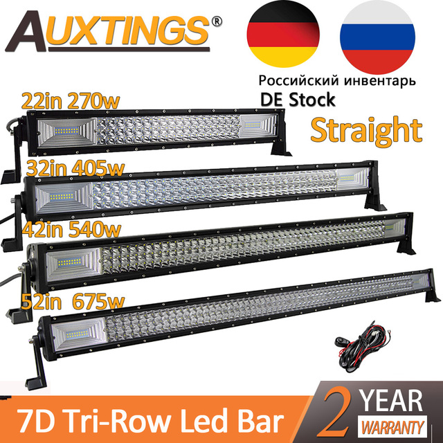 "Auxtings 22"" 32"" 42"" 52""inch Led Light Bar Work Light 7D led bar 3 Row 4x4 Truck ATV Car Offroad Driving Straight Light Bar"