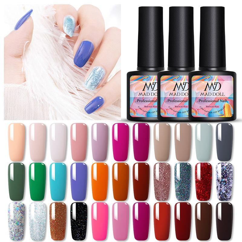 MAD DOLL Autumn New Series Gel Nail Polish 8ml Fall Winter Soak Off UV Gel Varnish 45 Colors Pure Nail Color Lacquer Manicure