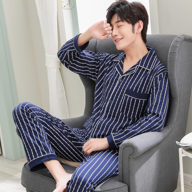 Mens Pajamas Men Sleepwear Cotton Pajama Set Spring Autumn Pijama Hombre Mens Sleepwear Striped Sleep Wear Pyjamas Plus Size
