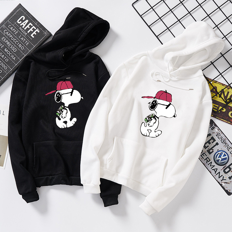 Women Autumn Winter Thin Hoodies Long Sleeve Cartoon Snoopy Hooded Sweatshirt Plus Size M-5XL Casual Sport Pullover Tops