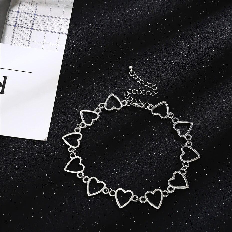 Ingemark Korean Sweet Love Heart Choker Necklace Statement Girlfriend Gift Cute Gold Silver Necklace Jewelry Collier Femme 18 15