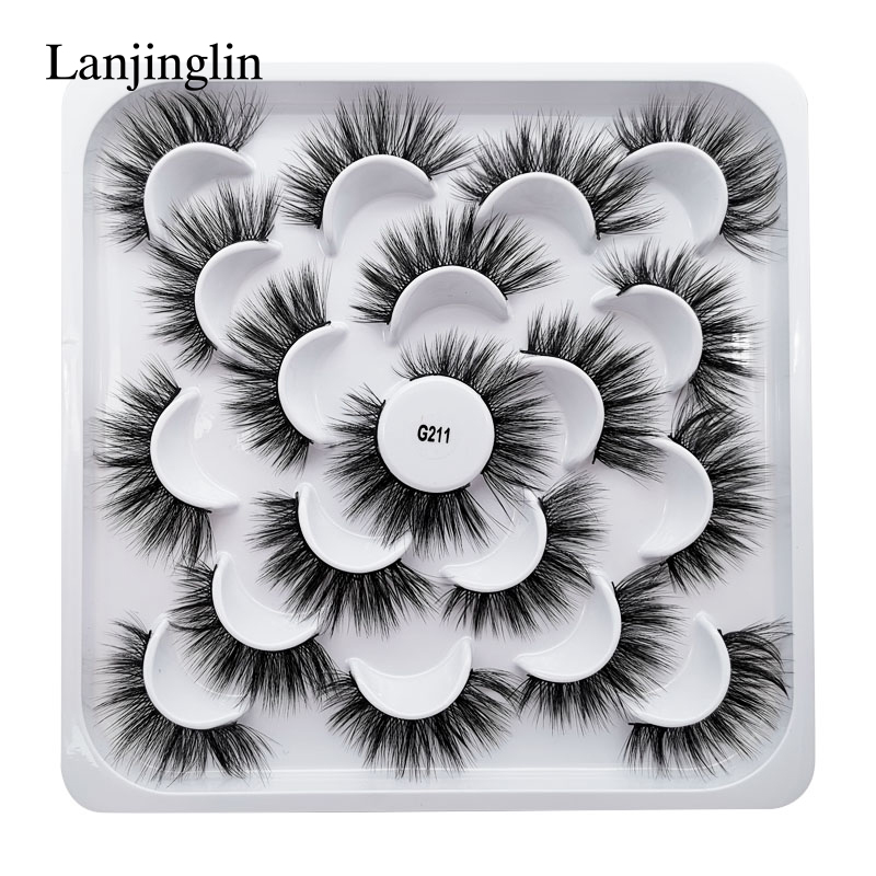 LANJINGLIN 5/7/10 paires Faux cils 3D vison naturel Long Faux cils Volume Faux cils maquillage Extension cils maquiagem
