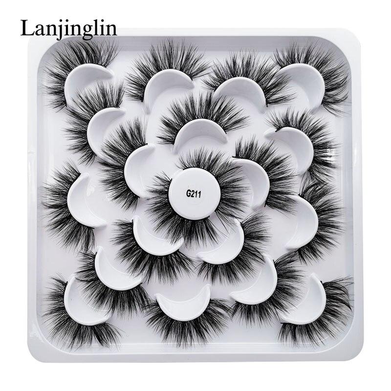 Lanjinglin 5/7/10 pares falso 3d vison cílios naturais longos cílios postiços volume falsos cílios extensão maquiagem cílios maquiagem