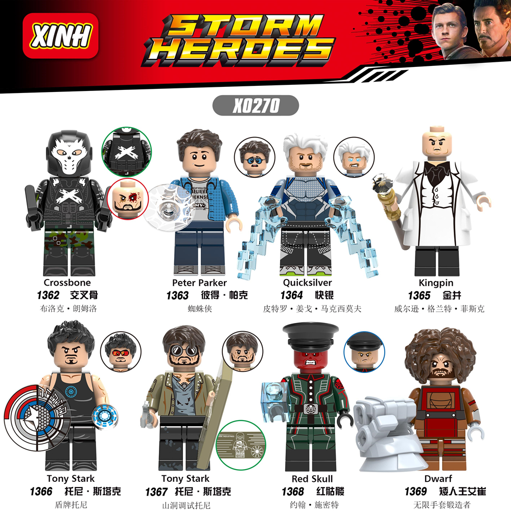 X0270 Super Hero Crossbone Figure Peter Parker Quicksilver Kingpin Tony Stark Red Skull Dwarf Building Blocks Brick Toys