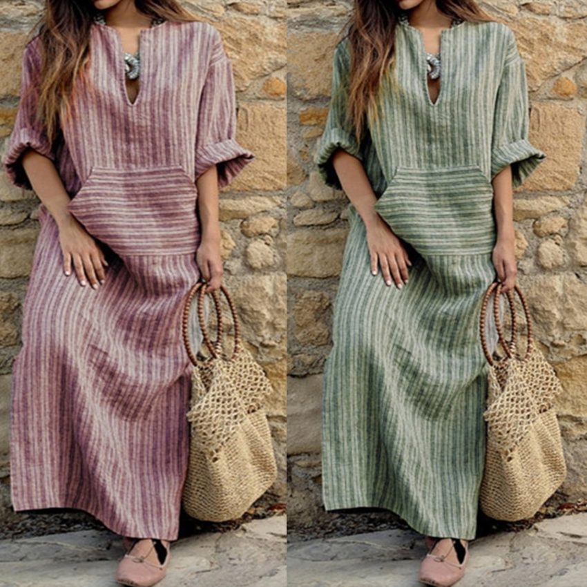 Woman Muslim Abaya Dress Musulmane Arab Turkish Kaftan Islamic Traditional Kimono Long Robe Linen Loose Thin Bohemian Dress