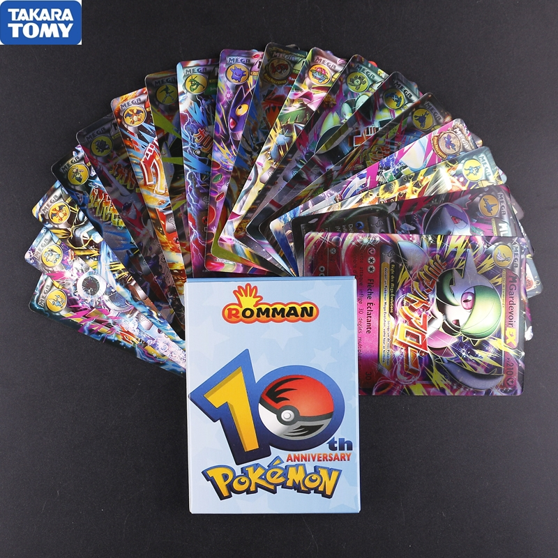 18pcs/box Pokemon French Version MEGA Flash Cards Battle Trading Card Game Kids Toys Gift