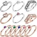 Neue 2021 Valentinstag 925 Sterling Silber Ringe Bunte Solitaire Herz Ring Für Frauen Schmuck Engagement Jahrestag Geschenk