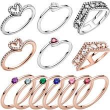 جديد 2021 عيد الحب 925 فضة خواتم ملونة سوليتير القلب الدائري للنساء مجوهرات المشاركة هدية للذكرى السنوية