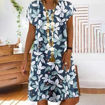 Women Summer Plus Size Dress Vintage Loose V neck Floral Print Short Sleeve Midi Dress