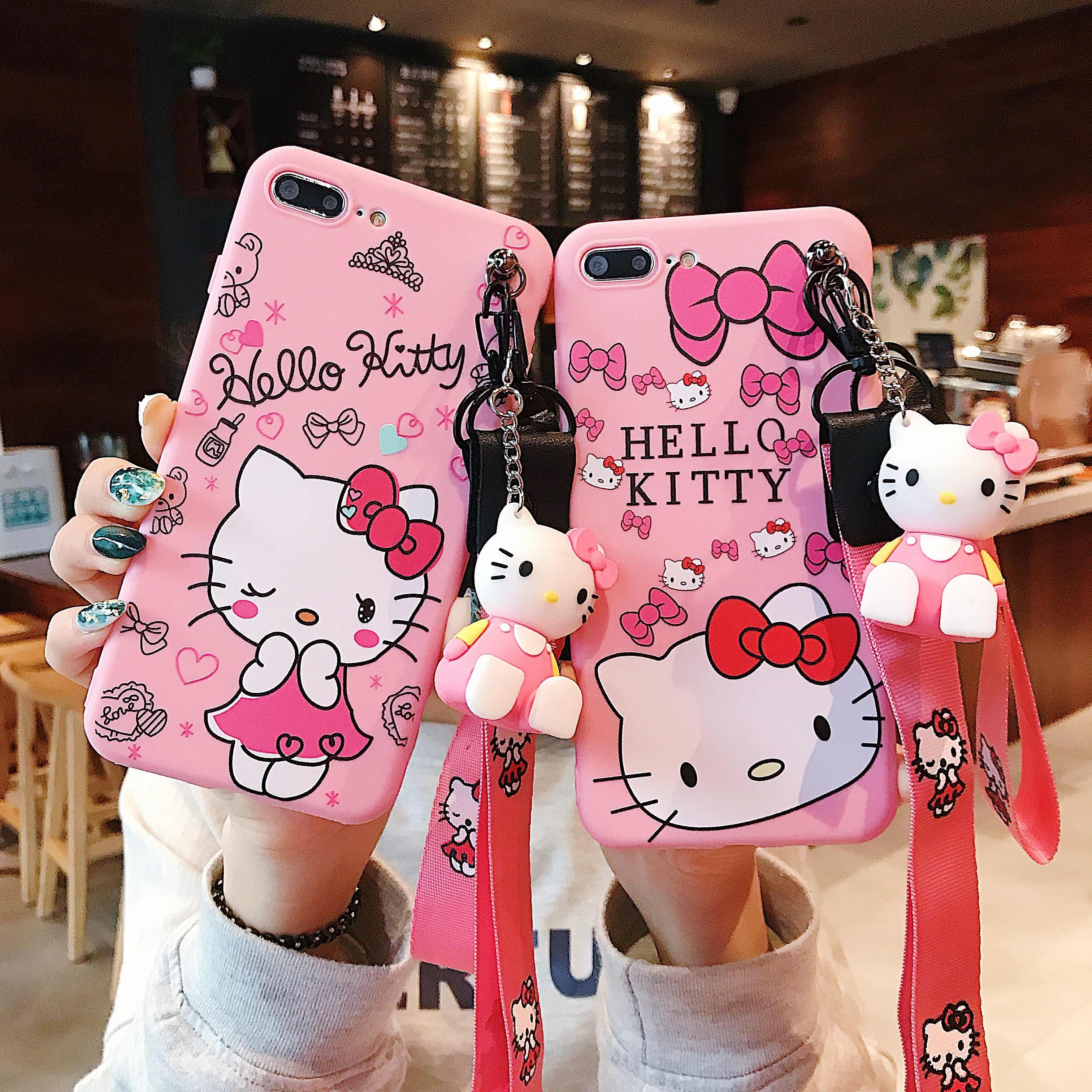 3D lindo suave Hello Kitty animales silicona teléfono estuche con cordón soporte para Samsung A50 A40 A30 A20 A70 A80 A10 S10e Plus