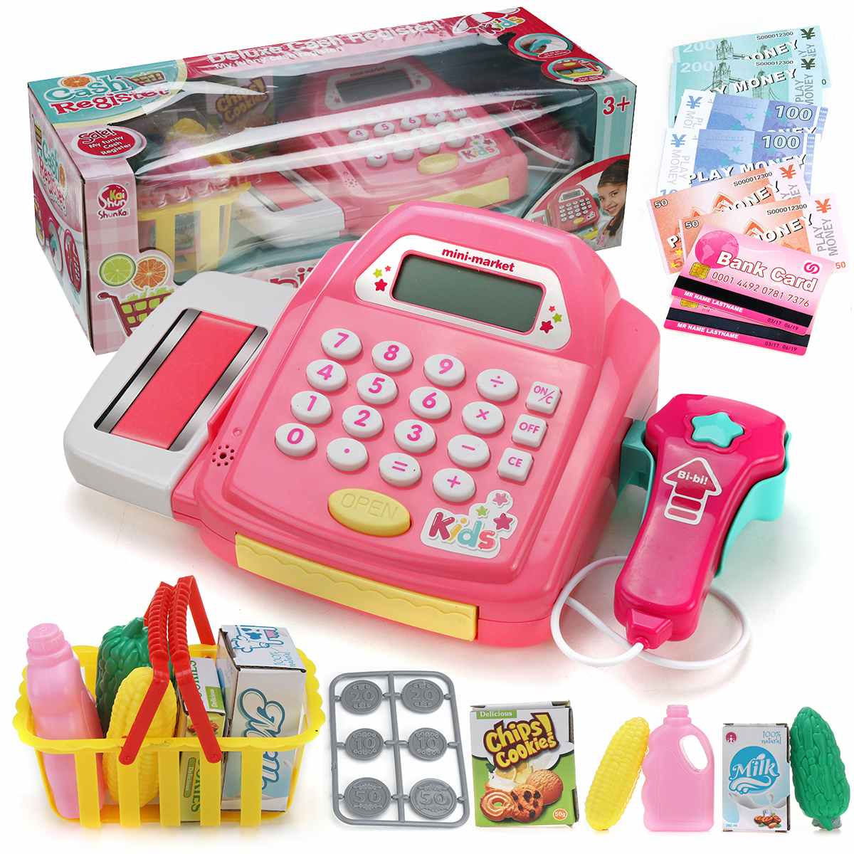 Children Simulation Supermarket Counter Cash Register 21pcs Playset For Boys Girls Groceries Toys Pretend Play With Calculator