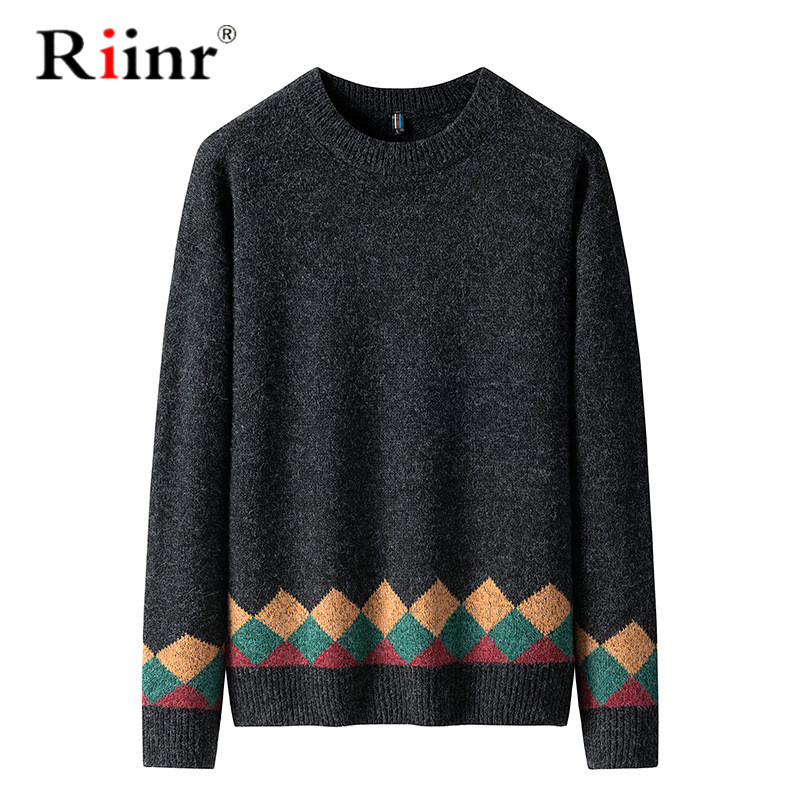 Riinr Men's Sweater 2019 Brand New Autumn Winter Pullover Men Sweaters Cotton Casual O Neck Sweater Male Knitwear