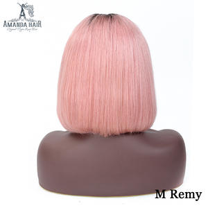 Amanda Straight Short Bob Wig T1bpink Middle Part 150% Density Malaysian Human Hair Wig Lace Front 13x6