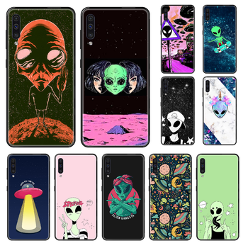 Cartoon Cute Alien Phone case For Samsung Galaxy A 3 5 8 9 10 20 30 40 50 70 E S Plus 2016 2017 2018 2019 black art funda image