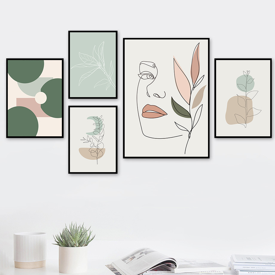 Abstract Girl Face Curve Geometric Shape Leaf Cactus Wall Art Painting Nordic Posters And Prints Wall Pictures For Living Room