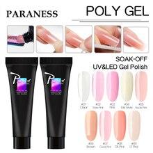 Paraness Fast UV Builder Gel Double Use Nail Art Manicure Poly Gel Gummed False Nails Extension Nail Form Polygel Base Top Coat
