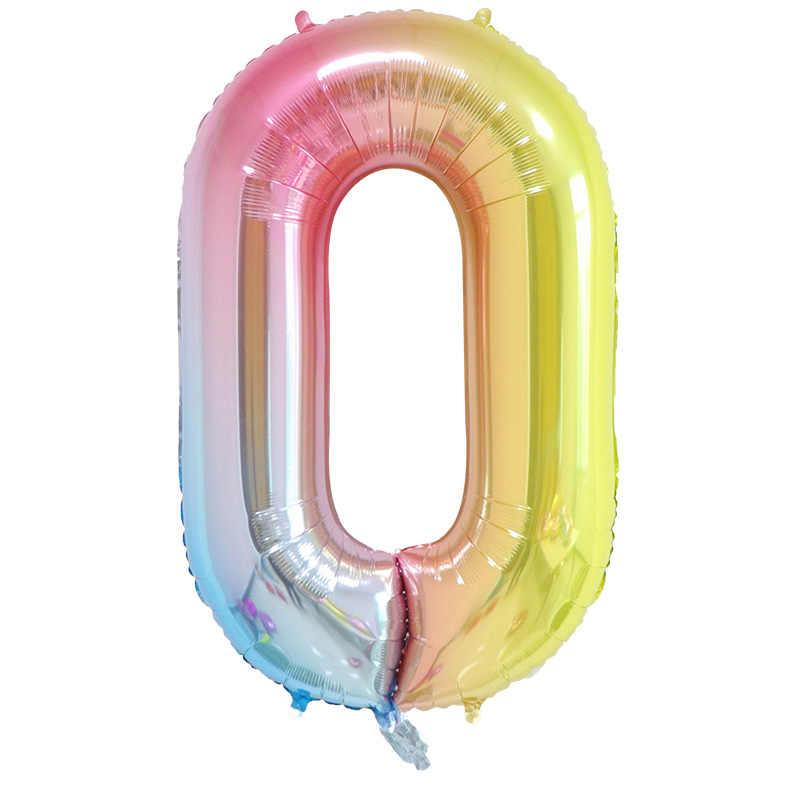 16/32/40 pulgadas número globo de papel de aluminio grande arco iris Rosa oro plata globos digitales cumpleaños fiesta decoración niños bebé ducha suministros