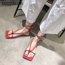 SUOJIALUN 2020 New Fashion Women Sandals Flat Heel Lace Up Back Strap Summer
