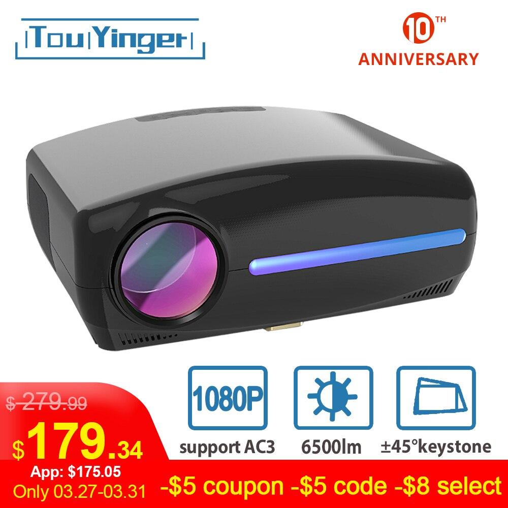 Touyinger s1080 c2 led nativo 1080 p projetor completo hd beamer ac3 vídeo 6500 lumens cinema em casa hdmi android 9.0 wifi opcional