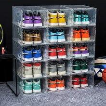 Caixa de sapato de plástico transparente caixa de sapato de armazenamento engrossado sapatos à prova de poeira organizador caixa de sapato de basquete combinação de armazenamento armário de sapato